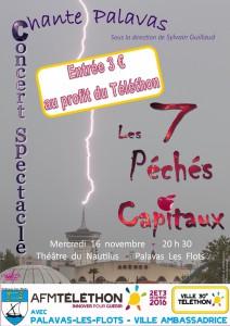 Concert Spectacle les 7 Péchés Capitaux au profit du Téléthon mercredi 16 novembre 2016