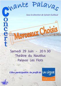 Concert Chante Palavas «Morceaux choisis» Nautilus le samedi 29 juin 2019